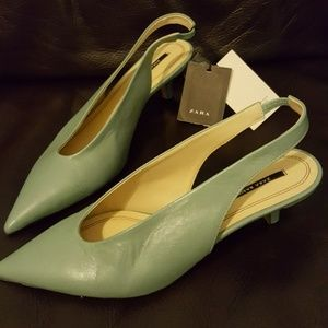 ZARA Basic Leather Slingbacks NWT